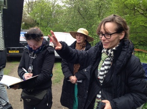 Left to Right: Victoria Gegenbauer (Script Supervisor), Sara Kestelman (Millie), Tara FitzGerald (Director)